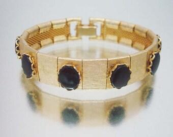 Brushed Gold Tone Bracelet Black Cabochons Unused Vintage