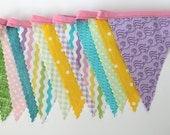 Pastel fabric party decoration. Fabric sewn flag Banner. Photo prop. 12 Pennant bunting flags