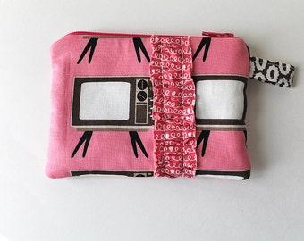 MINI. Vintage Pink TV pouch. gift card holder. coin purse. ruffles zipper pouch. chocolate brown, white. Retro fabric TV print. retro teen
