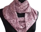 Embroidered Lace Dusty Rose Pink Infinity Eternity Scarf Long Summer Weight