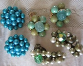 Vintage Jewelry Lot of Three Pair Beaded Clip Earrings