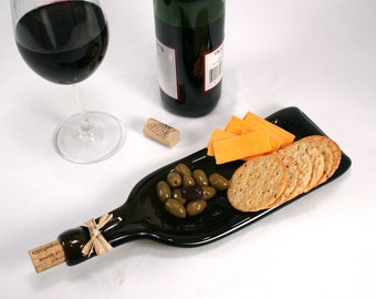 Dark Amber Wine Bottle Molded Serving Tray or Spoon Rest with Cork- Recycled Eco-Friendly