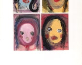 Set of 4 ACEO Original Paintings Faces, Abstract Portrait, Folk, Outsider Art, Wholesale Art #29