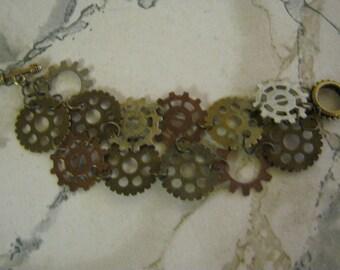Steampunk Multi Patterened Watch Gears Bracelet