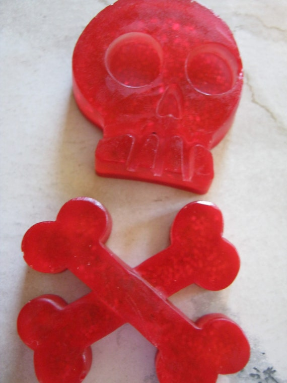 Red Skull and Crossbones Resin Cabochons