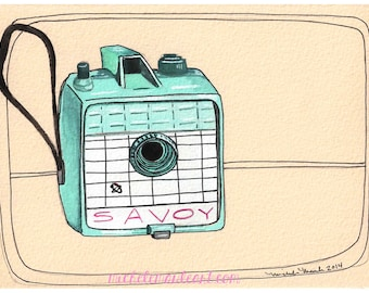 Art Print - Camera Illustration - Camera Print - Camera Art - Savoy Camera - 5x7 Print - Gift for Photographer - Illustration - Savoy