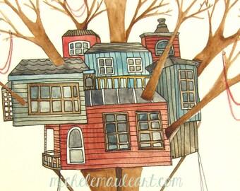 Painting - Original Painting - Original Watercolor Painting - Tree House Art - Tree Art - 8x10 Painting - Our Home Among the Trees