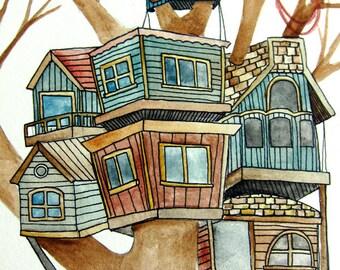 Original Painting - Original Watercolor - Original Art- Wall Art - Tree House Painting - Tree House Art - 8x10 Painting - Meet Me Upstairs