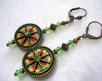 Antiqued Bronze Polymer Clay Earrings Peridot Green Swarovski Crystal Leverback Hooks