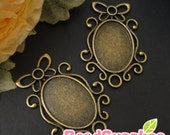 CH-CS-03034-  Nickel free , antique brass, Butterfly art nouveau oval cameo setting charm , 4 pcs (for 25mmx18mm cabochon)