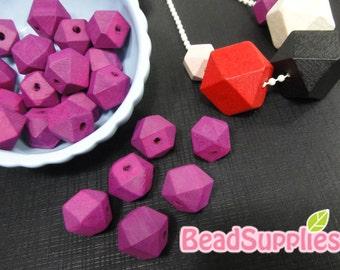 BE-WO-02006- Geometric wood beads (S), purple,10 pcs