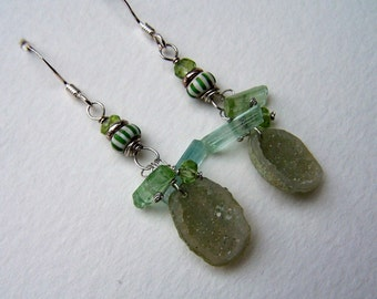 Tabasco Geode, Green and Blue Tourmaline stick, Chevron trade bead, Peridot rondelle sterling silver earwire
