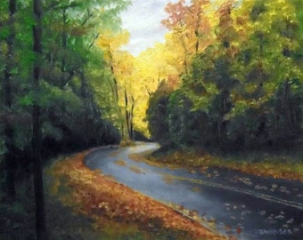 Wet Leaves original oil painting 8 x 10 inches oil on panel roaring forks trail smoky mountains FREE SHIPPING