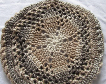 Lacy Doily Crochet Beret Adult or Teen
