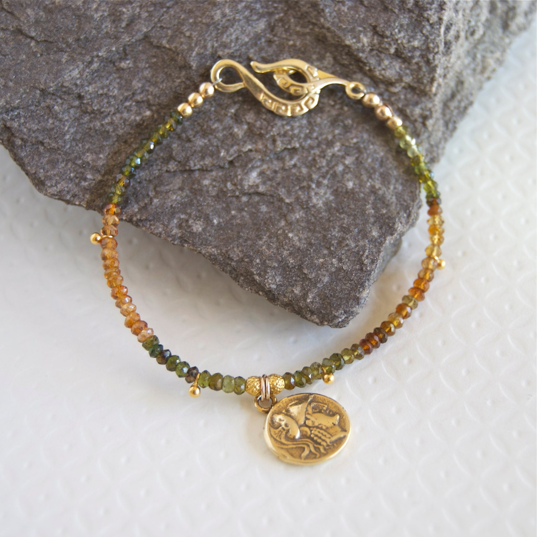 Coin Bracelet Ancient Greek Coin Greek Jewelry Tourmaline