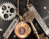 Industrial Steampunk Smashed Cap Assemblage Necklace
