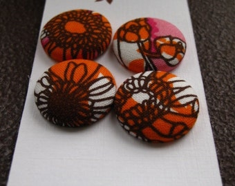 Wearable Sew On Fabric Covered Buttons - Size 36 or  7/8 inches  Orange, Pink, Brown and White Flowers