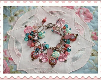 Lampwork and Crystal Beaded Bangle Charm Bracelet