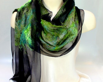 Felt Scarf sheer cashmere-soft merino wrap on painted silk -   Emerald on Black