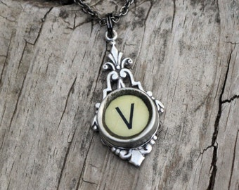 Letter V  Vintage Typewriter Key  Drop Necklace