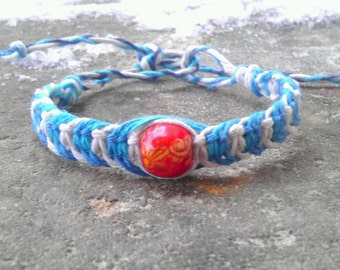 knotted turquoise and white adjustable hemp bracelet