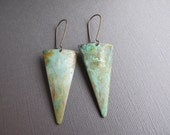 Green Patina Triangle Earrings, Geometric Brass Dangles, Tribal Minimal Long Dangles, Verdigris