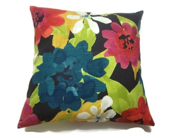 Pillow Cover Red Black Teal Gold White Green Fuchsia Floral Design Same Fabric Front/Back Toss Throw Accent Cover 18 x18 inch x