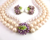 Vintage50s Haskell-ish Faux Pearl Necklace with Rhinestone Flower Cluster Clasp and Earrings