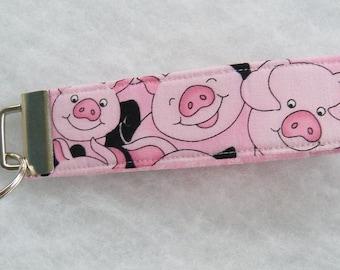 Key Fob wristlet - Pink Pigs