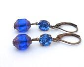 Sapphire Blue Dangle Earrings, Blue Dangle Earrings