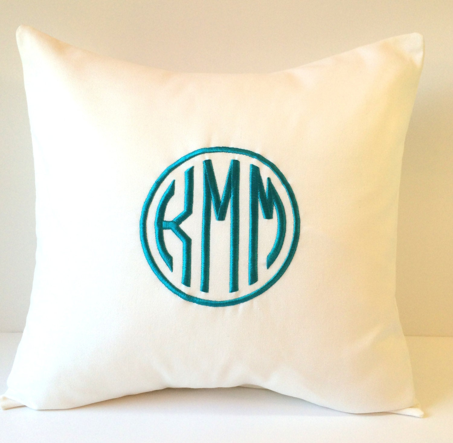 Decorative Monogram Pillow : CIRCLE MONOGRAM Pillow Cover. 18 x 18 Decorative by SewGracious