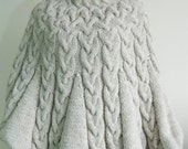 Custom order White Poncho White Hat and Fingerless Gloves