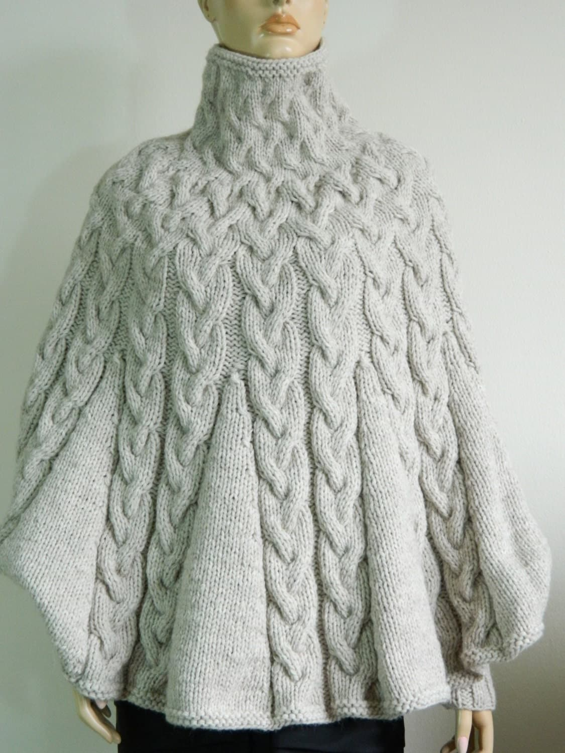 Knitting Pattern For Turtleneck Poncho : Hand Knit Turtleneck Poncho with sleeves from Alpaca by ...