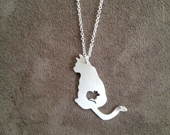 ATE SERIES sterling silver cat mouse food chain pendant