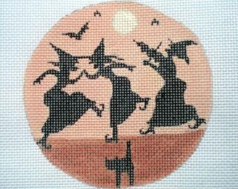 Handpainted needlepoint canvas Halloween Barn Dance