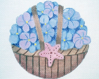 Handpainted Purple Hydrangea Basket Needlepoint Canvas