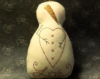 Primitive Stitchery Valentine Snowman Heart Love