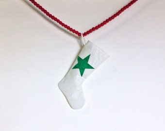 Sail Cloth Stocking - Small Stocking with Green Star