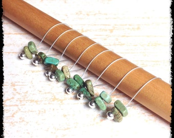 Snag Free Stitch Markers Large Set of 8-- Green Turquoise -- N6 -- For up to size US 17 (12.75mm) Knitting Needle