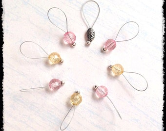 Snag Free Stitch Markers Large Set of 8 - Pink and Yellow Faceted Glass - N68 - Fits up to size US 17 (12.75) Knitting Needle