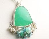 Chrysoprase Necklace Sterling Silver with Gemstone Fringe