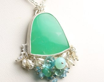 Special Offer - Chrysoprase Necklace Sterling Silver with Gemstone Fringe