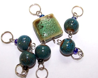 Hand Made Stitch Markers -- Earthy Turquoise Porcelain