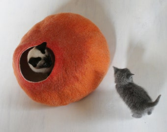 Cat Nap Cocoon / Cave / Bed / House / Vessel - Hand Felted Wool - Crisp Contemporary Design - READY TO SHIP  Warm Orange Bubble