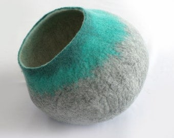 Cat Cave / Bed / House / Vessel - Hand Felted Wool - Gray to Teal Bubble - Crisp Contemporary Design -- READY TO SHIP
