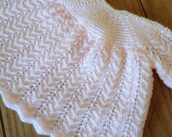 KNIT BABY DRESS/Traditional pale pink dress for a newborn-Baby dress-Shower Gift-Ready to Ship -Reduced