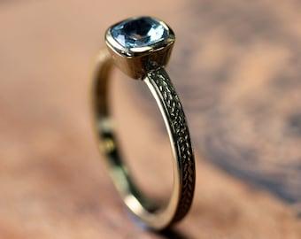 Aquamarine engagement ring, vintage inspired engagement ring, cushion engagement ring, victorian engagement ring braided ring, unique custom