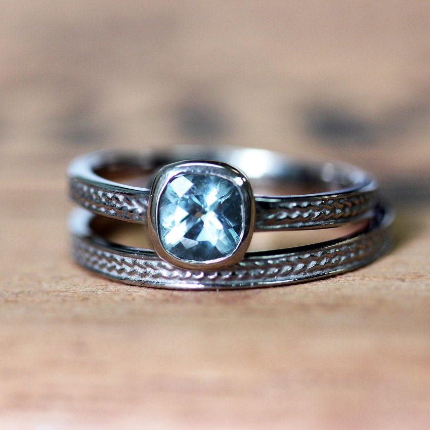 natural aquamarine engagement ring square by metalicious. Black Bedroom Furniture Sets. Home Design Ideas