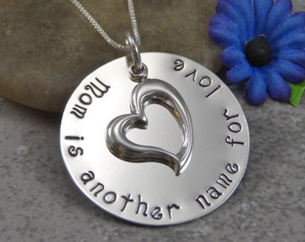 Ready to Ship - Hand Stamped Jewelry - Personalized Jewelry - Mom Necklace - Mom is another name for love - Sterling Silver - Heart Charm