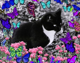 Painting (Digital Collage) - Freckles in Butterflies III - Art Card, ACEO